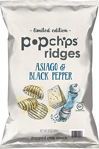 Popchips Asiago & Black Pepper Limited Edition Potato Chips, 15 Ounce