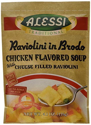 Alessi Raviolini in Brodo, Chicken Soup with Cheese Raviolini, 4.1-Ounce Packages (Pack of 6)