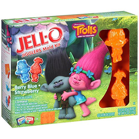 JELL-O Jigglers Trolls Mold Kit, Blueberry/Strawberry, 6 Ounce