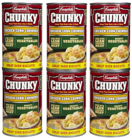 Campbell's Chunky Chicken Corn Chowder, Ez Open, 18.8 oz, 3 pk