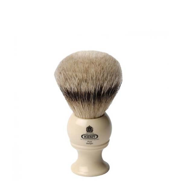 Kent BK2 Pure Grey Badger Brush (Medium w/ Cream Handle)