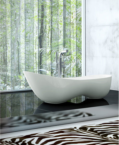 SUNNY SHOWER Modern White Oval Glossy Acrylic Free Standing Bathtub 68 7/8""