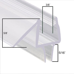 "Sunny Shower 3/8"" Frameless Glass Shower Doors Bottom Seal Sweep Drip Rail-36"" Length"