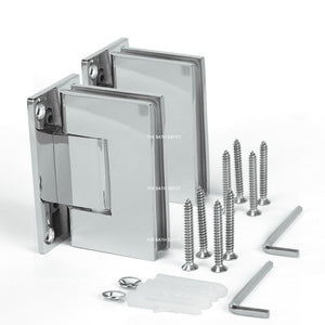 Sunny Shower Frameless Shower Door Hinge and Pull Handle Set Polished Chrome Stainless Steel SH-CH-90x2+PH-CH-6x1 - SUNNY SHOWER