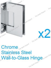 Load image into Gallery viewer, Sunny Shower Frameless Pivot Shower Doors Hinge 90 Degree Wall-to-Glass Polished Chrome Finish Stainless Steel SH-CH-90 x2 1 Pair - SUNNY SHOWER