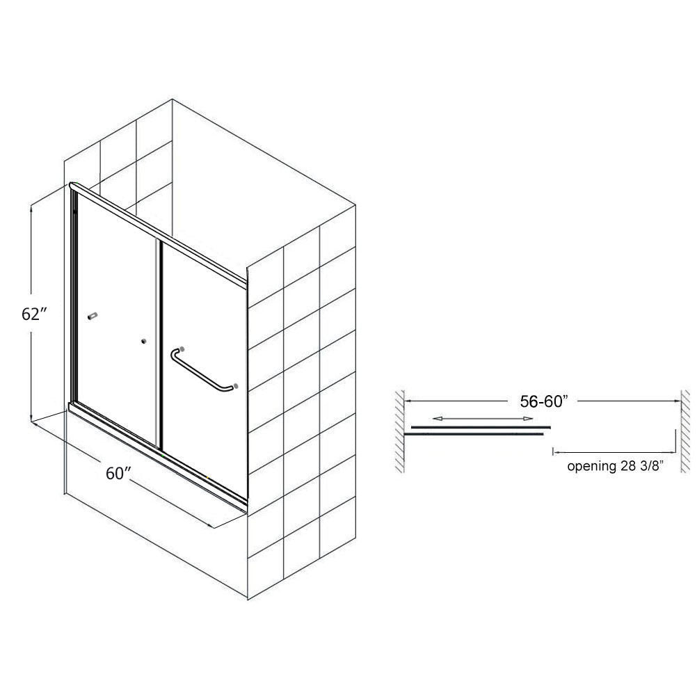 Sunny Shower Semi-Frameless Bypass 2 Way Sliding Bathtub Door,  1/4