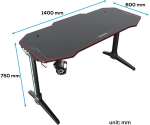 Ziocceh T-Shaped Computer Gaming Desk 55 inch with Full-Cover Mouse Pad Black PC Gaming Table for Home Office Gamer Ergonomic Gaming Workstation Desk with LED Lights - SUNNY SHOWER