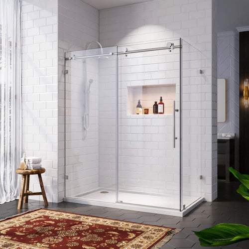 SUNNY SHOWER Frameless Sliding Shower Enclosure, 48 in. W x 34 in. D x 76 in. H Corner Shower Door in Brushed Stainless Steel with 3 Tempered Clear Glass Panel - SUNNY SHOWER
