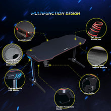 Load image into Gallery viewer, Ziocceh T-Shaped Computer Gaming Desk 55 inch with Full-Cover Mouse Pad Black PC Gaming Table for Home Office Gamer Ergonomic Gaming Workstation Desk with LED Lights - SUNNY SHOWER