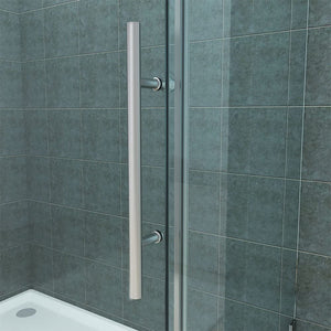 SUNNY SHOWER Corner Shower Enlosure Frameless Sliding Glass Shower Doors, Two 3/8 in. Clear Glass Panels & One 3/8 in. Side Glass, 60 in. W x 32 in. D x 72 in. H Brushed Stainless Steel Corner Shower - SUNNY SHOWER