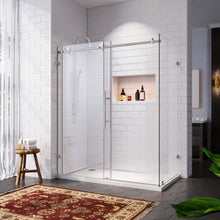 Load image into Gallery viewer, SUNNY SHOWER Frameless Sliding Shower Enclosure, 48 in. W x 34 in. D x 76 in. H Corner Shower Door in Brushed Stainless Steel with 3 Tempered Clear Glass Panel - SUNNY SHOWER