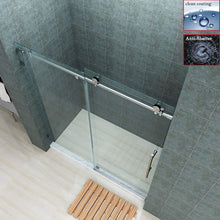 "Load image into Gallery viewer, SUNNY SHOWER Fully 60"" W x 72"" H Frameless Sliding Shower Doors, 3/8"" Clear Glass, Brushed Nickel Finish, Stainless Steel Hardware - SUNNY SHOWER"