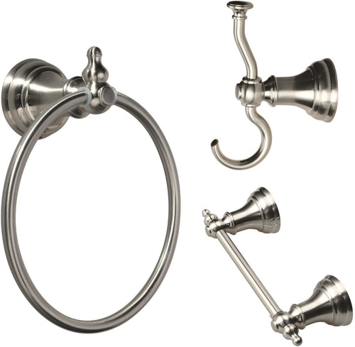 SUNNY SHOWER Satin Nickel Bathroom Hardware Accessory Set Towel Bar Ring Robe Hook Holder 3pcs - SUNNY SHOWER