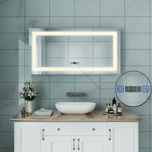 SUNNY SHOWER Vanity Mirror with Light Wall-Mounted Bathroom LED Mirror 48 X 24 inch Backlit Mirrors for Wall, Warm White, Touch Button Included - SUNNY SHOWER