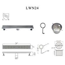 "Load image into Gallery viewer, Dawn 24"" Long Modern Stainless Steel Linear Bathroom Shower Drain various design - SUNNY SHOWER"