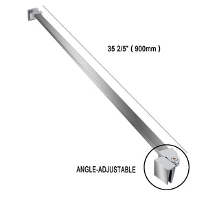 SUNNY SHOWER Angle-adjustable Support Bar for 5-10mm Thickness Frameless Glass Shower Door, Fixed Panel Wall-To-Glass Support Bar, (90mm, Stainless Steel) - SUNNY SHOWER