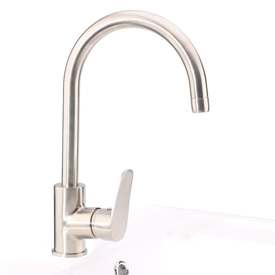 Sunny Shower New Single Handle Kitchen Sink Spray Mixer Tap Faucet Brushed Nickel Finish U-WF006 - SUNNY SHOWER