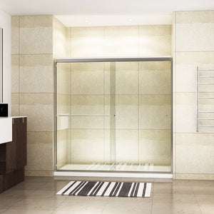 "SUNNY SHOWER 72"" W x 72"" H Semi-frameless 2 Sliding Shower Doors 5/16""(8mm) Clear Glass Panel, Brushed Nickel Finish - SUNNY SHOWER"