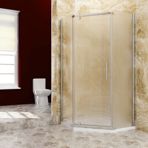 Sunny Shower A33S221 Neo Angle Frameless Corner Clear ANSI Glass Chrome Shower Enclosure 36 3/5 in. W x 36 3/5 in. D x 71 4/5 in. H Pivot Swing Shower Doors with 38 x 38 x 3 in. Base - SUNNY SHOWER
