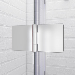 "SUNNY SHOWER Frameless Bi-Fold Shower Door 34 in. W x 72 in. H Shower Door Hinged, 1/4"" Clear Glass Panel, Chrome Finish - SUNNY SHOWER"