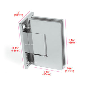Sunny Shower Frameless Pivot Shower Doors Hinge 90 Degree Wall-to-Glass Polished Chrome Finish Stainless Steel SH-CH-90 x2 1 Pair - SUNNY SHOWER