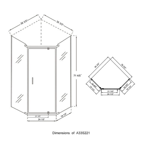 Neo Angle Frameless Shower Door Corner Shower Enclosure