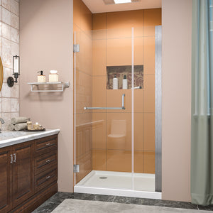 SUNNY SHOWER Pivot Shower Door, Semi-frameless Bi-fold Hinged Shower Door, 38 in. x 72 in., 3/8 in. Clear Glass and One Fixed Glass, Brushed Nickel Hinged Shower Door - SUNNY SHOWER