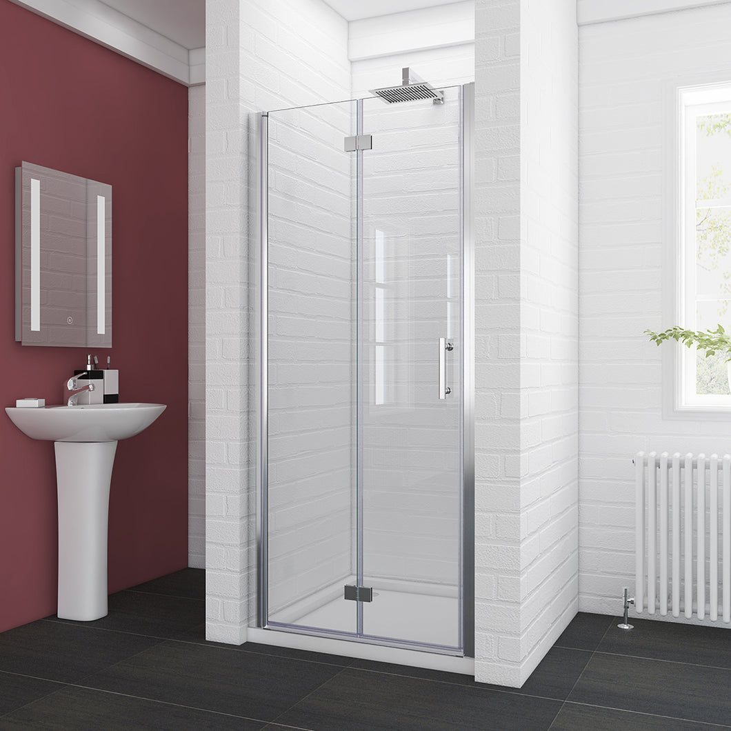 SUNNY SHOWER Frameless Bi-Fold Shower Door 34 in. W x 72 in. H Shower Door Hinged, 1/4