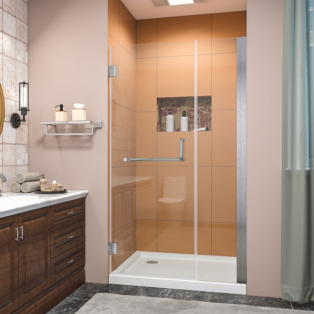SUNNY SHOWER Pivot Shower Door, Semi-frameless Bi-fold Hinged Shower Door, 40 in. x 72 in., 3/8 in. Clear Glass and One Fixed Glass, Brushed Nickel Hinged Shower Door - SUNNY SHOWER