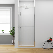 "Load image into Gallery viewer, Sunny Shower 32-36"" W X 72"" H Framed Pivot Swing Shower Door with 3/16"" Thick Glass Door Panel, Up to 4"" Adjustment in Width, Chrome Finish - SUNNY SHOWER"