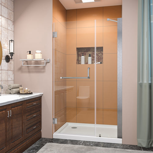 SUNNY SHOWER Pivot Shower Door, Semi-frameless Bi-fold Hinged Shower Door, 42 in. x 72 in., 3/8 in. Clear Glass and One Fixed Glass, Brushed Nickel Hinged Shower Door - SUNNY SHOWER