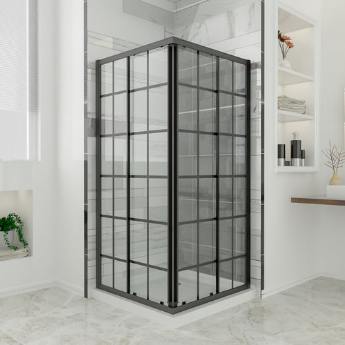 SUNNY SHOWER Sliding Shower Door, Corner Shower Enclosure 36 X 36 X 72 inch, 1/4