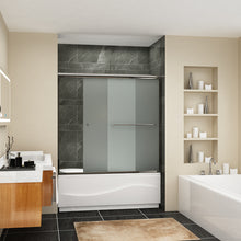 Load image into Gallery viewer, Sunny Shower Frameless Sliding Bathtub Tempered Frosted Glass Shower Doors Chrome Finish B020221 - SUNNY SHOWER