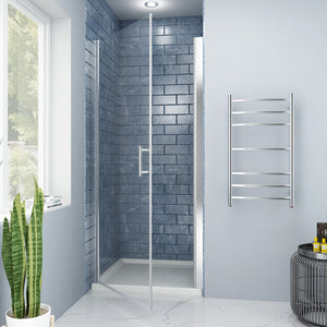 "SUNNY SHOWER Pivot Shower Door Semi-Frameless 36"" W x 72"" H Aluminum Frame Bathroom Door with 3/16"" Clear Glass, Chrome Finish - SUNNY SHOWER"