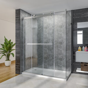 "SUNNY SHOWER Bypass Sliding Shower Door, 60"" x 76"" x 36"" Frameless Shower Enclosure 3/8 in. (10mm) Clear Glass, Brushed Stainless Steel Hardware - SUNNY SHOWER"