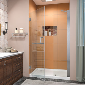 SUNNY SHOWER Pivot Shower Door, Semi-frameless Bi-fold Hinged Shower Door, 44 in. x 72 in., 3/8 in. Clear Glass and One Fixed Glass, Brushed Nickel Hinged Shower Door - SUNNY SHOWER