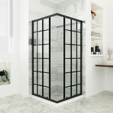"Load image into Gallery viewer, Sunny Shower 36"" D. x 36"" W. x 72"" H. Double Sliding Black Silk Screen Grid Shower Door, 2 Stationary Panels Opening Shower Clear Glass Shower Enclosure, Black Color - SUNNY SHOWER"