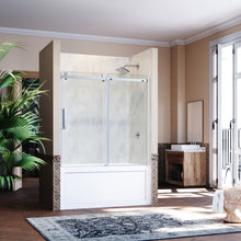 "Load image into Gallery viewer, SUNNY SHOWER B038 Frameless Bathtub Glass Door 5/16"" Clear Glass Shower Door with Chrome Finish 60"" W X 62"" H Sliding Shower Enclosure - SUNNY SHOWER"