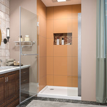 Load image into Gallery viewer, SUNNY SHOWER Pivot Shower Door, Semi-frameless Bi-fold Hinged Shower Door, 38 in. x 72 in., 3/8 in. Clear Glass and One Fixed Glass, Brushed Nickel Hinged Shower Door - SUNNY SHOWER