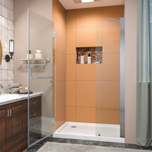 Load image into Gallery viewer, SUNNY SHOWER Pivot Shower Door, Semi-frameless Bi-fold Hinged Shower Door, 44 in. x 72 in., 3/8 in. Clear Glass and One Fixed Glass, Brushed Nickel Hinged Shower Door - SUNNY SHOWER
