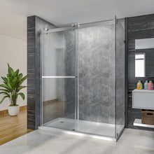 "Load image into Gallery viewer, SUNNY SHOWER Bypass Sliding Shower Door, 60"" x 76"" x 36"" Frameless Shower Enclosure 3/8 in. (10mm) Clear Glass, Brushed Stainless Steel Hardware - SUNNY SHOWER"