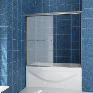 "SUNNY SHOWER 60"" W x 57.4"" H Frosted Glass Shower Door Sliding Bathtub Door 1/4"" Glass Panel, Brushed Nickel Finish - SUNNY SHOWER"