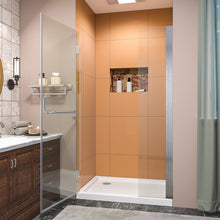 Load image into Gallery viewer, SUNNY SHOWER Pivot Shower Door, Semi-frameless Bi-fold Hinged Shower Door, 40 in. x 72 in., 3/8 in. Clear Glass and One Fixed Glass, Brushed Nickel Hinged Shower Door - SUNNY SHOWER