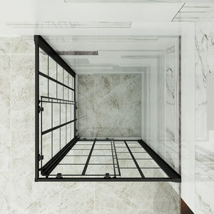 "Sunny Shower 36"" D. x 36"" W. x 72"" H. Double Sliding Black Silk Screen Grid Shower Door, 2 Stationary Panels Opening Shower Clear Glass Shower Enclosure, Black Color - SUNNY SHOWER"