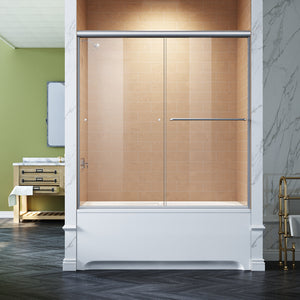 Sunny Shower Semi-Frameless Bypass Sliding Bathtub Doors B020 Series in Brushed Nickel Finish - SUNNY SHOWER