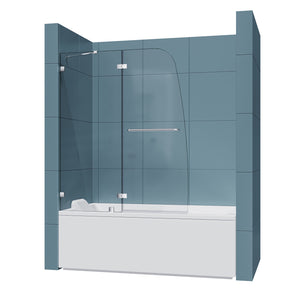 New SUNNY SHOWER  Bathtub Door Frameless Hinged Tub
