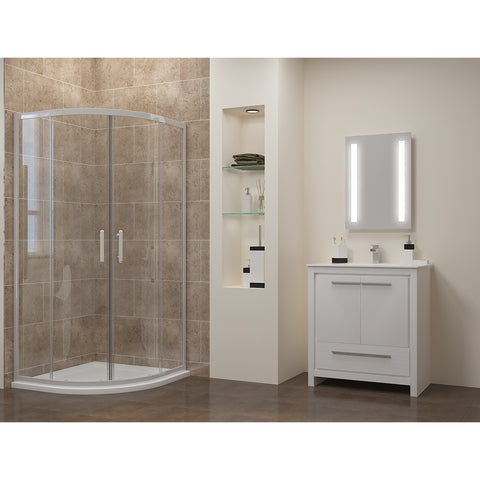SUNNY SHOWER LED Bathroom Vanity Mirror w// Touch Button display horizontally