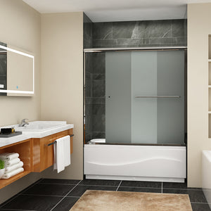 Sunny Shower Frameless Sliding Bathtub Tempered Frosted Glass Shower Doors Chrome Finish B020221 - SUNNY SHOWER