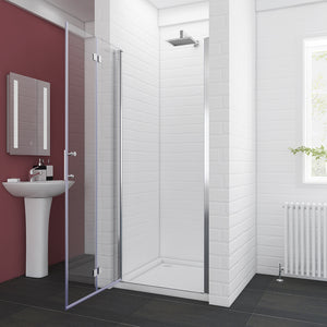 "SUNNY SHOWER 32"" x 72"" Bi-Fold Shower Door 1/4"" Clear Glass Shower Hinged Glass Door, Chrome Finish - SUNNY SHOWER"