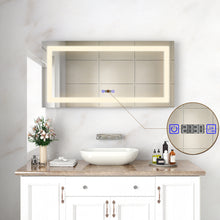 Load image into Gallery viewer, SUNNY SHOWER Vanity Mirror with Light Wall-Mounted Bathroom LED Mirror 48 X 24 inch Backlit Mirrors for Wall, Warm White, Touch Button Included - SUNNY SHOWER